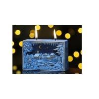 Téli tájképet ábrázoló dupla kanocú gyertya